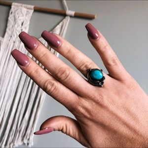 Turquoise and Silver Ring Boho
